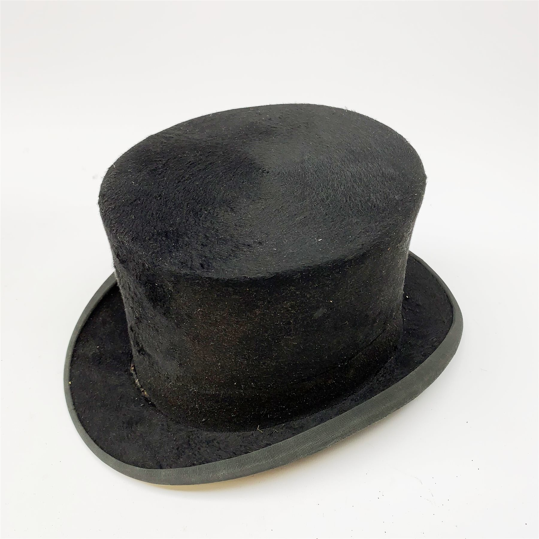 A Vintage black Dunn & Co London top hat, interior circumference measures approximately 58cm, with - Image 3 of 6