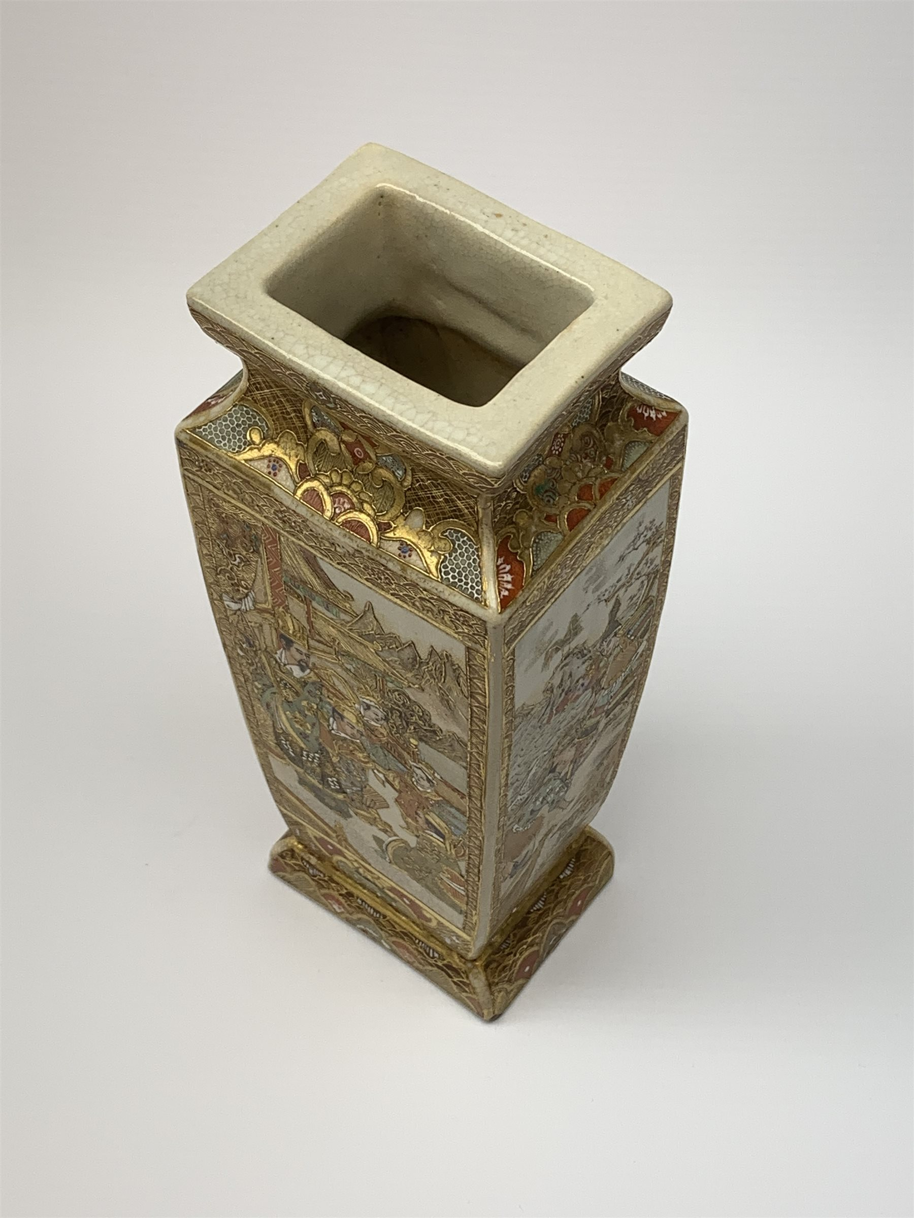 A late 19th century Japanese Satsuma vase, of slightly tapering square form, painted with figural pa - Image 2 of 7