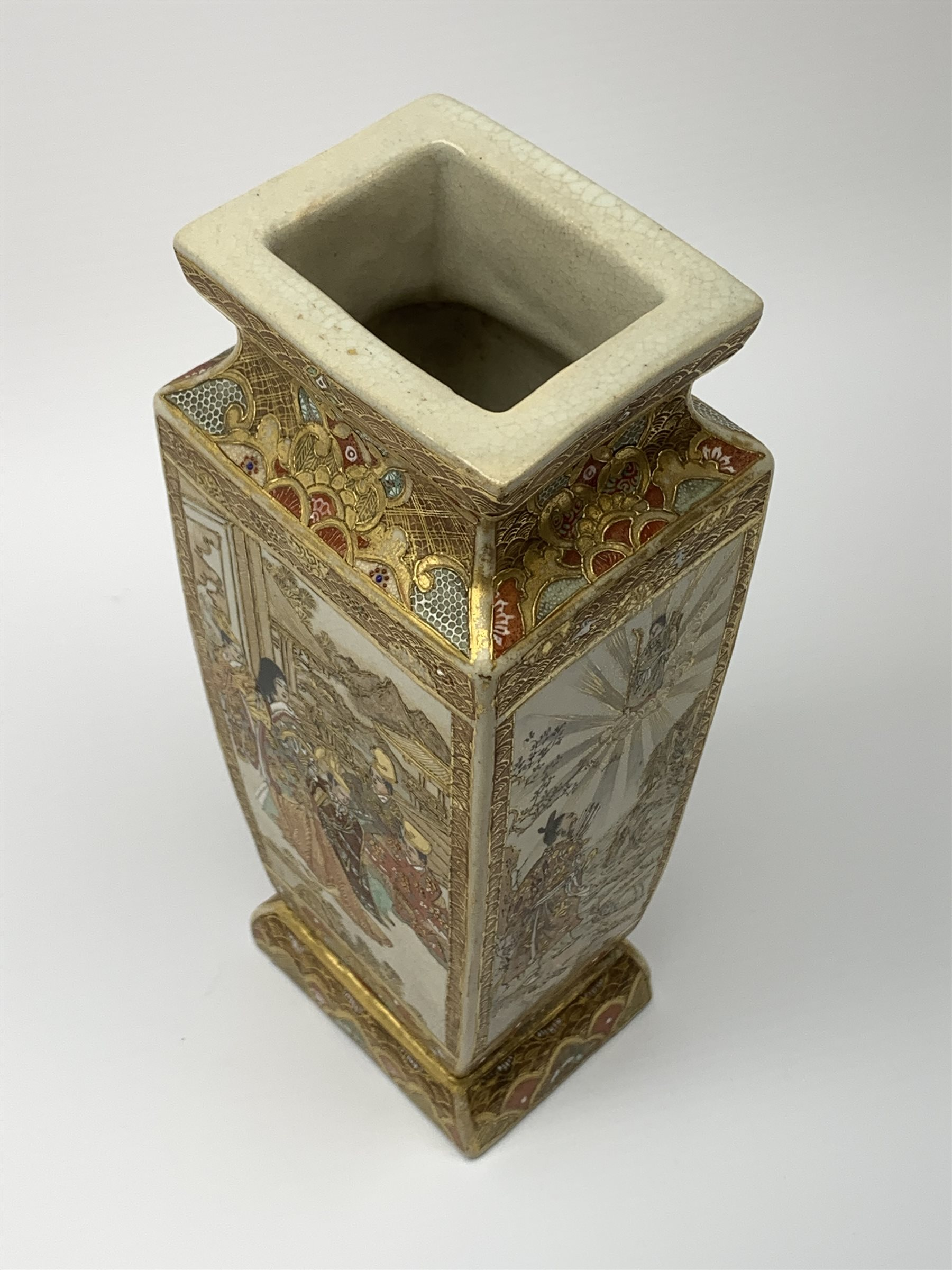 A late 19th century Japanese Satsuma vase, of slightly tapering square form, painted with figural pa - Image 3 of 7