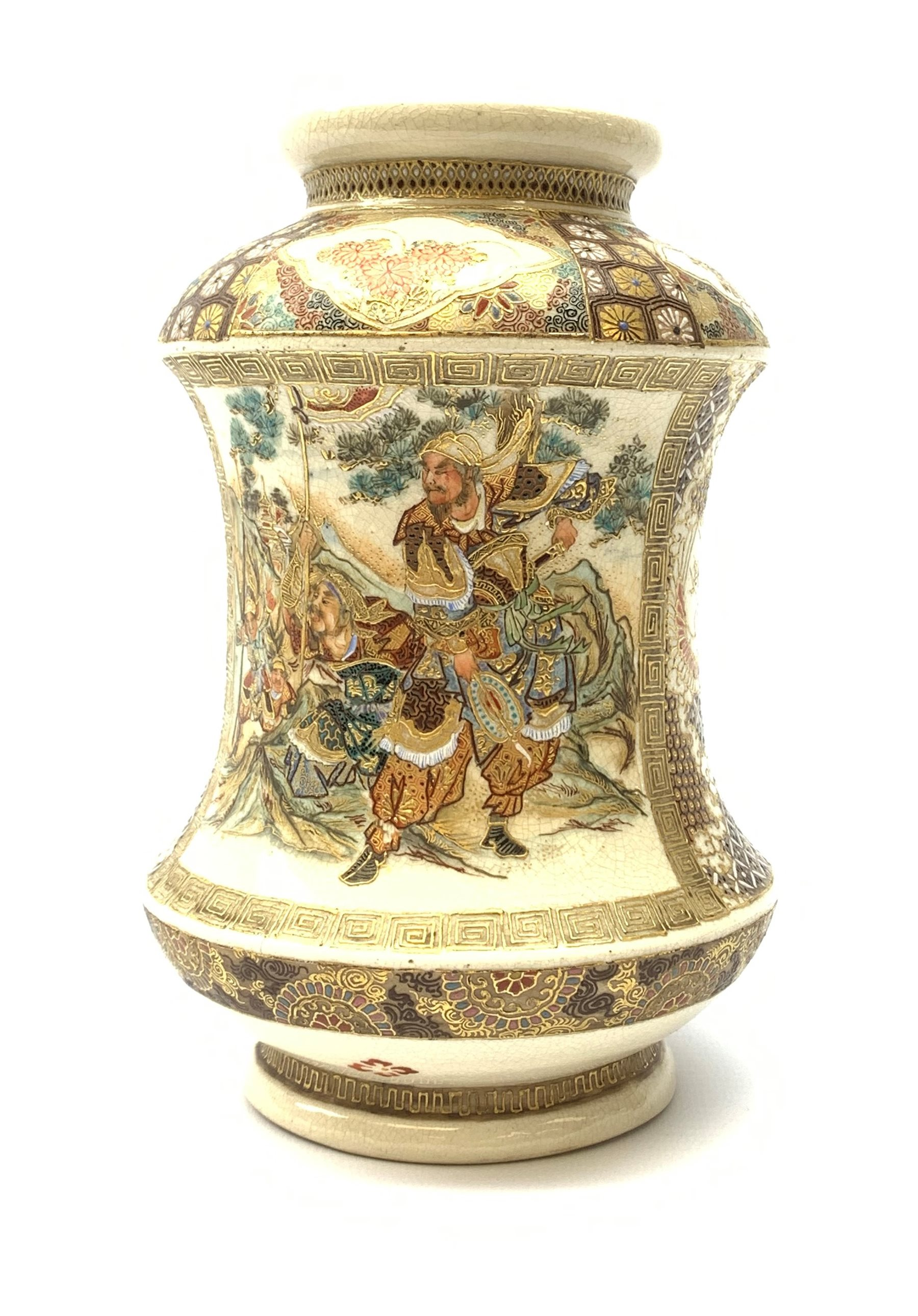 A late 19th century Japanese Satsuma vase, of waisted cylindrical form, painted with figural panels - Image 3 of 9