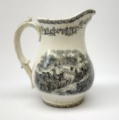 A 19th century Staffordshire pottery pearlware Crimea commemorative jug, black transfer printed with