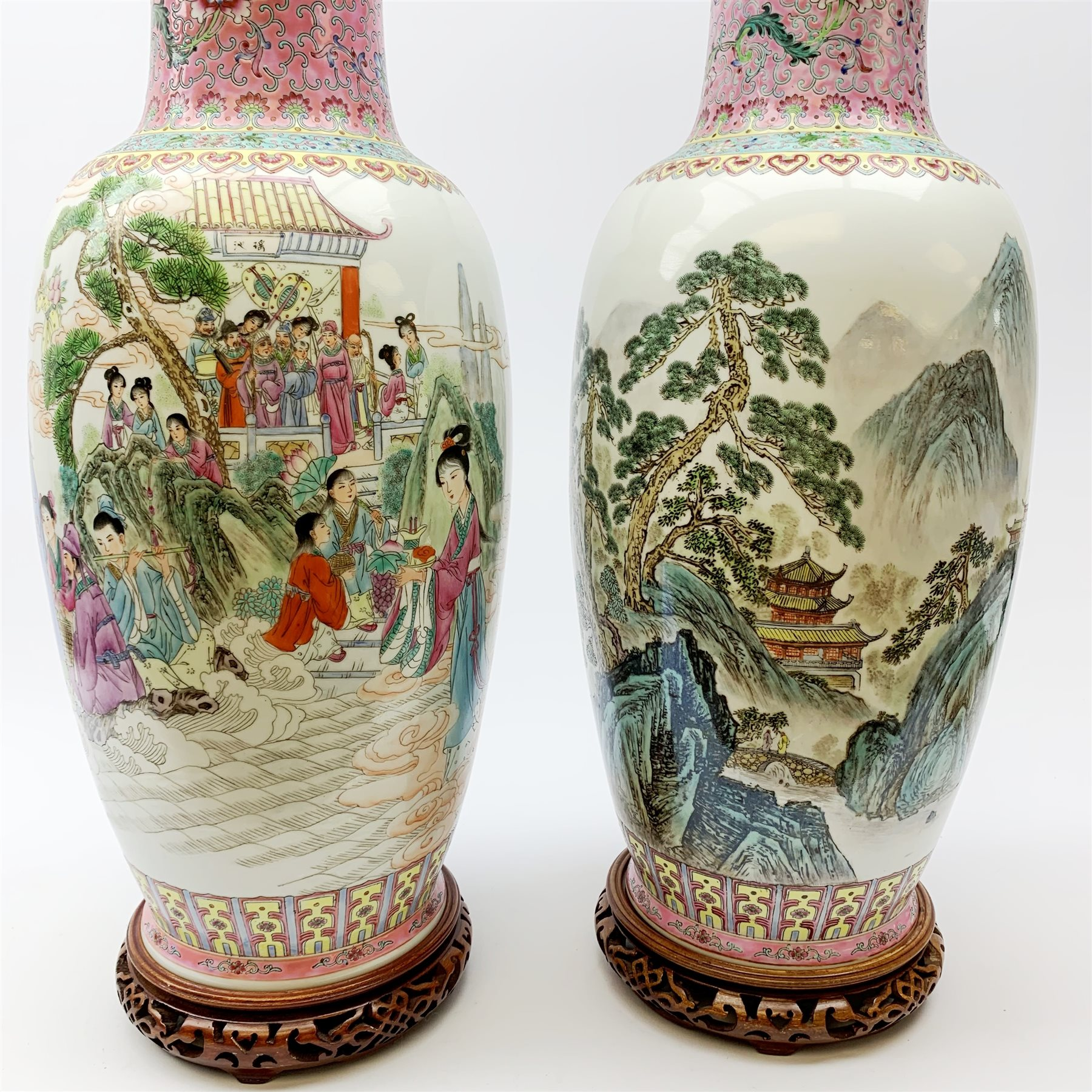 A pair of large Chinese famile rose style vases, one decorated with figural scene, the other with mo - Image 2 of 5