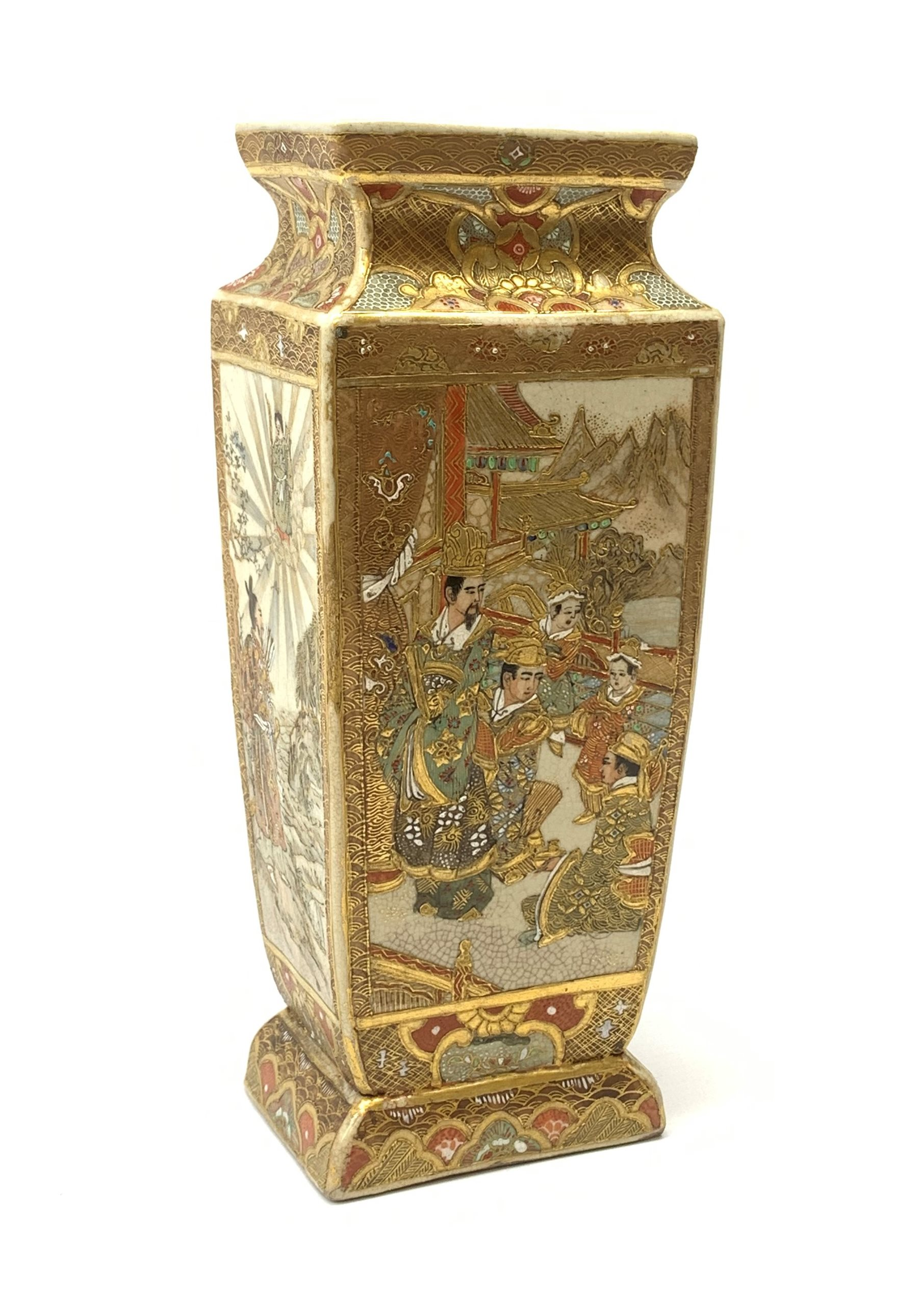 A late 19th century Japanese Satsuma vase, of slightly tapering square form, painted with figural pa