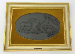 A Wedgwood black basalt plaque, The Frightened Horse after the painting by George Stubbs, limited ed