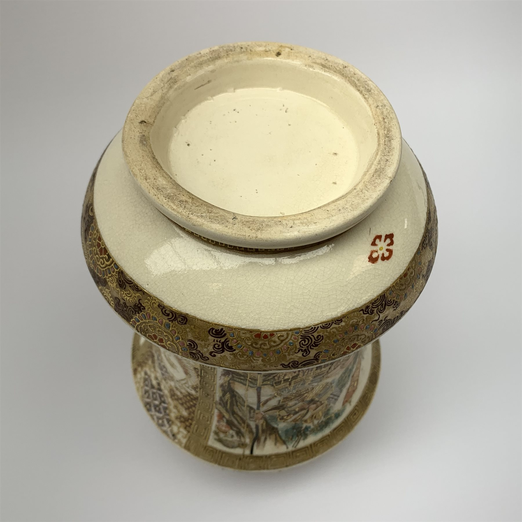 A late 19th century Japanese Satsuma vase, of waisted cylindrical form, painted with figural panels - Image 9 of 9