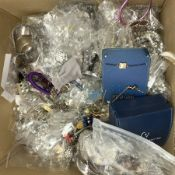 A collection of costume jewellery and watches, to include a boxed Claude Valentini wrist watch, a fe