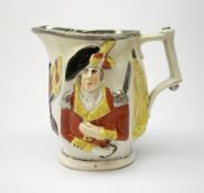 A 19th century Staffordshire pottery pearlware jug, modelled in relief with Lord Wellington and Gene