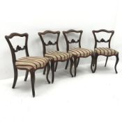 Set four 19th century rosewood chairs, shaped resting rail, carved detailing, serpentine upholstered