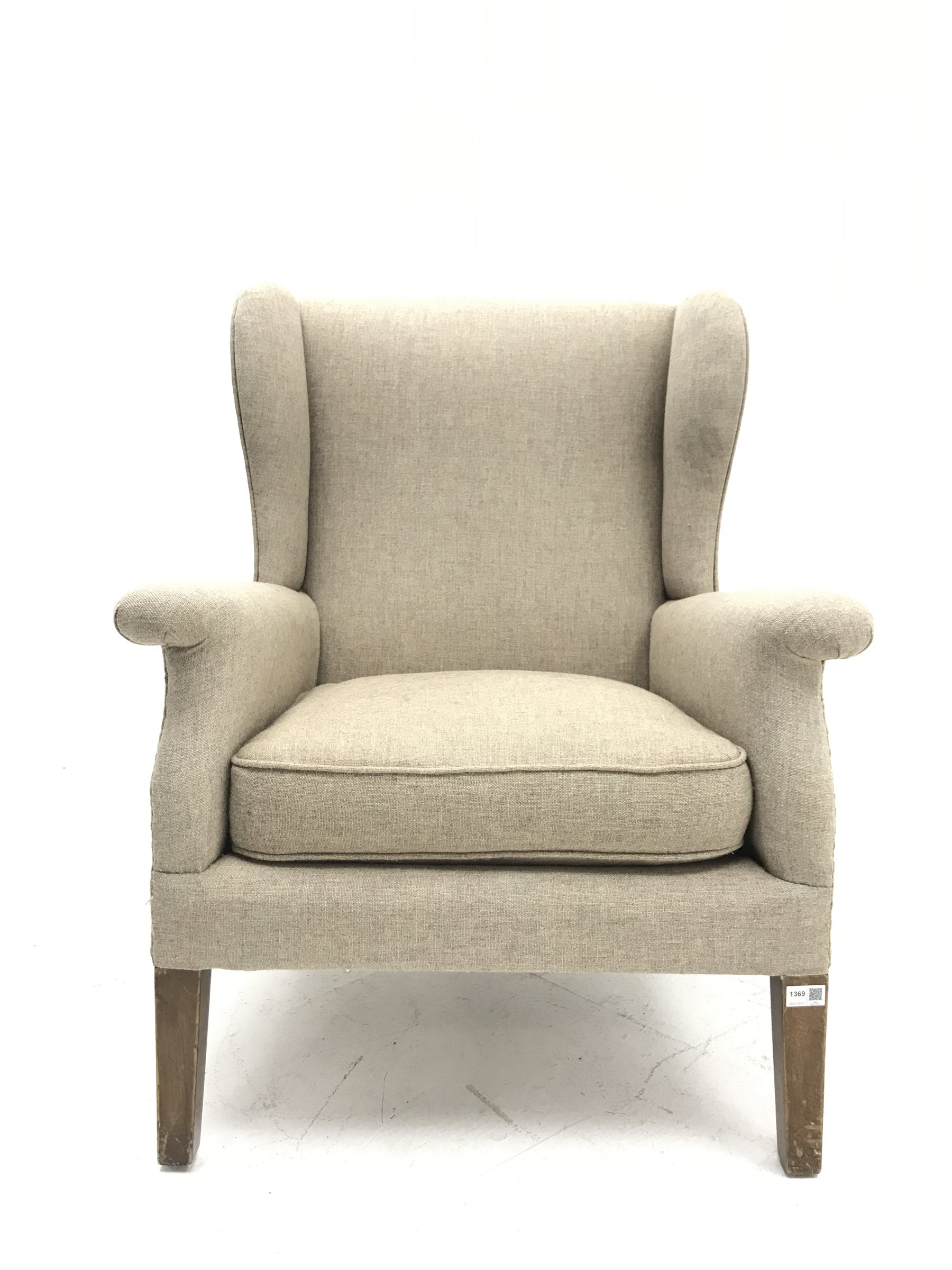 Vintage Parker Knoll wing back armchair, upholstered in natural fabric, W75cm, H97cm - Image 2 of 3