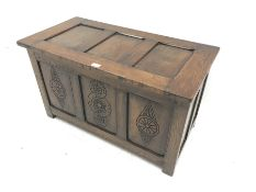 20th century panelled oak blanket box, carved detail to front, W91cm, D45cm, H52cm