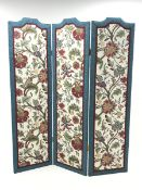 Three panel folding dress screen, upholstered with beige ground floral patterned fabric, W153cm, H18