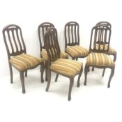 Set six hardwood chairs, shaped and pierced cresting rail, upholstered seat, cabriole legs, W48cm