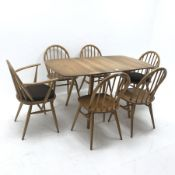Ercol drop leaf elm and beech dining table (W140cm, H72cm, D75cm) and set six (4+2) Windsor dining c