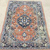 Antique Persian blue and red ground rug carpet, 250cm x 352 cm