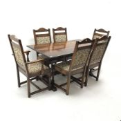 Old Charm - refectory style rectangular oak dining table, shaped and pierced end supports joined by