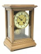 Late 19th century walnut cased mantle clock, twin train driven movement striking the hours and half