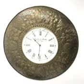 Wall clock in copper style repousse circular mount