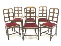 Set six (5+1) early 20th century oak dining chairs, upholstered drop in seat, turned supports joined