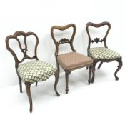 Three Victorian rosewood dining chairs with upholstered seats, W50cm