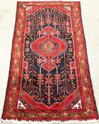 20th century Persian blue ground rug, geometric pattern, 280cm x 150cm