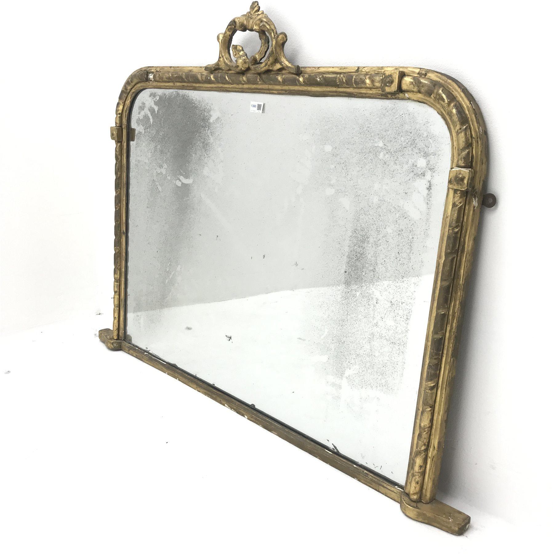19th century gilt framed overmantle mirror, W122cm, H94cm