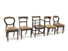 Mixed collection of chairs - early 19th century mahogany chair with Gillows type supports, two Victo