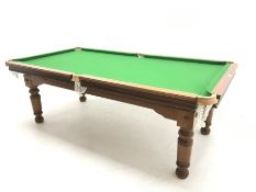 20th century mahogany framed billiard/dining table, rise and fall mechanism, four mahogany leaves, w