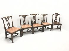 Set four Victorian mahogany dining chairs, shaped cresting rail and pierced splat, upholstered seat,