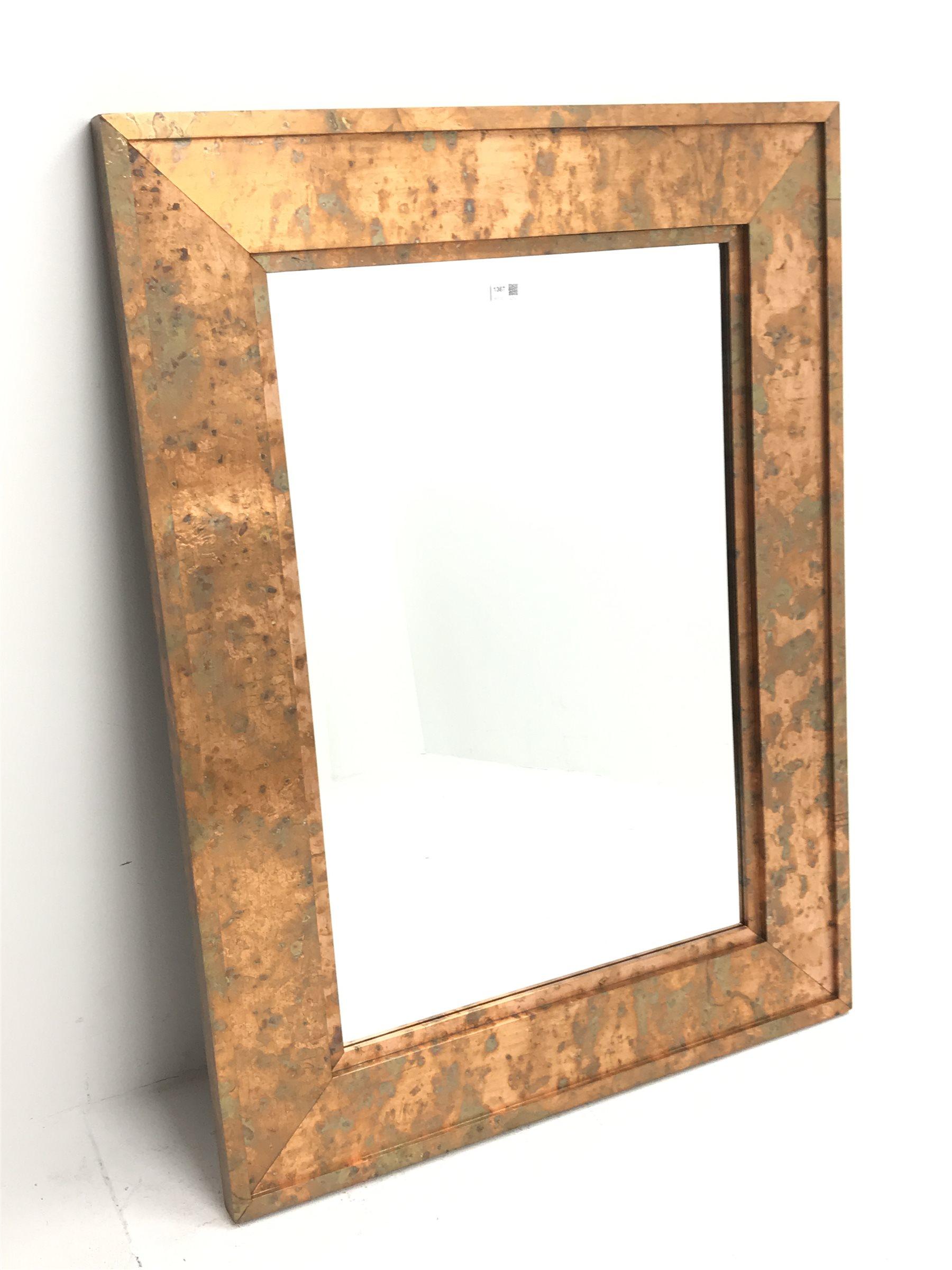 Acid washed copper framed rectangular wall mirror, bevelled plate, 91cm x 122cm