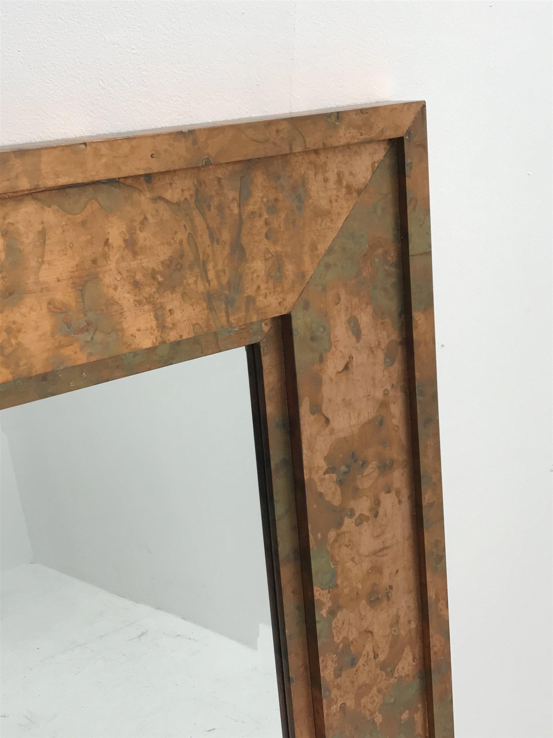 Acid washed copper framed rectangular wall mirror, bevelled plate, 91cm x 122cm - Image 2 of 2