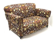 Early 20th century two seat drop end settee upholstered in Willam Morris style patterned fabric, tur
