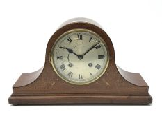 Early 20th century mahogany cased mantle clock, inlaid with chequered stringing, satinwood band and