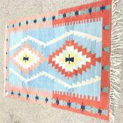 Kelim pale blue ground rug, 180cm x 130cm