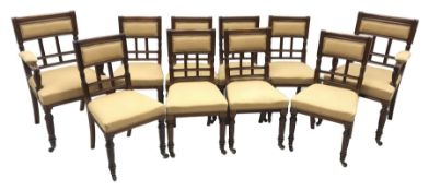 Set ten (8+2) late Victorian walnut dining chairs, moulded frames, upholstered seats and backs, the