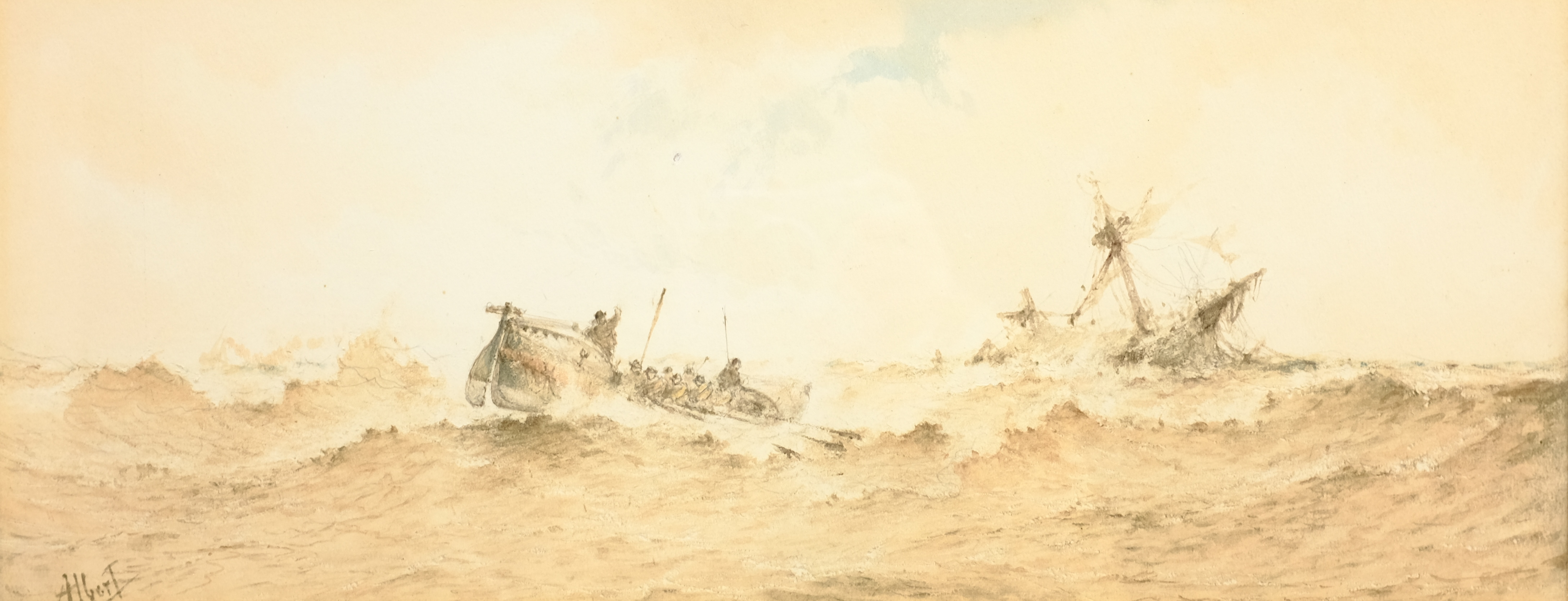 Albert Ernest Markes (British 1865-1901): 'The Rescue', watercolour signed, titled on the mount 20cm