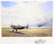 After Alan S Holt (British 20th century): 'Return to France' - First Spitfires to land in France sin