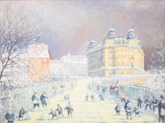 After Alan Stuttle (British 1939-): Snowball Fight on Spa Bridge 'Scarborough', colour print on canv