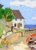 Ann Lamb (British 1955-): Lady Palmer's Cottage Runswick Bay, fabric and hand stitched collage, sign