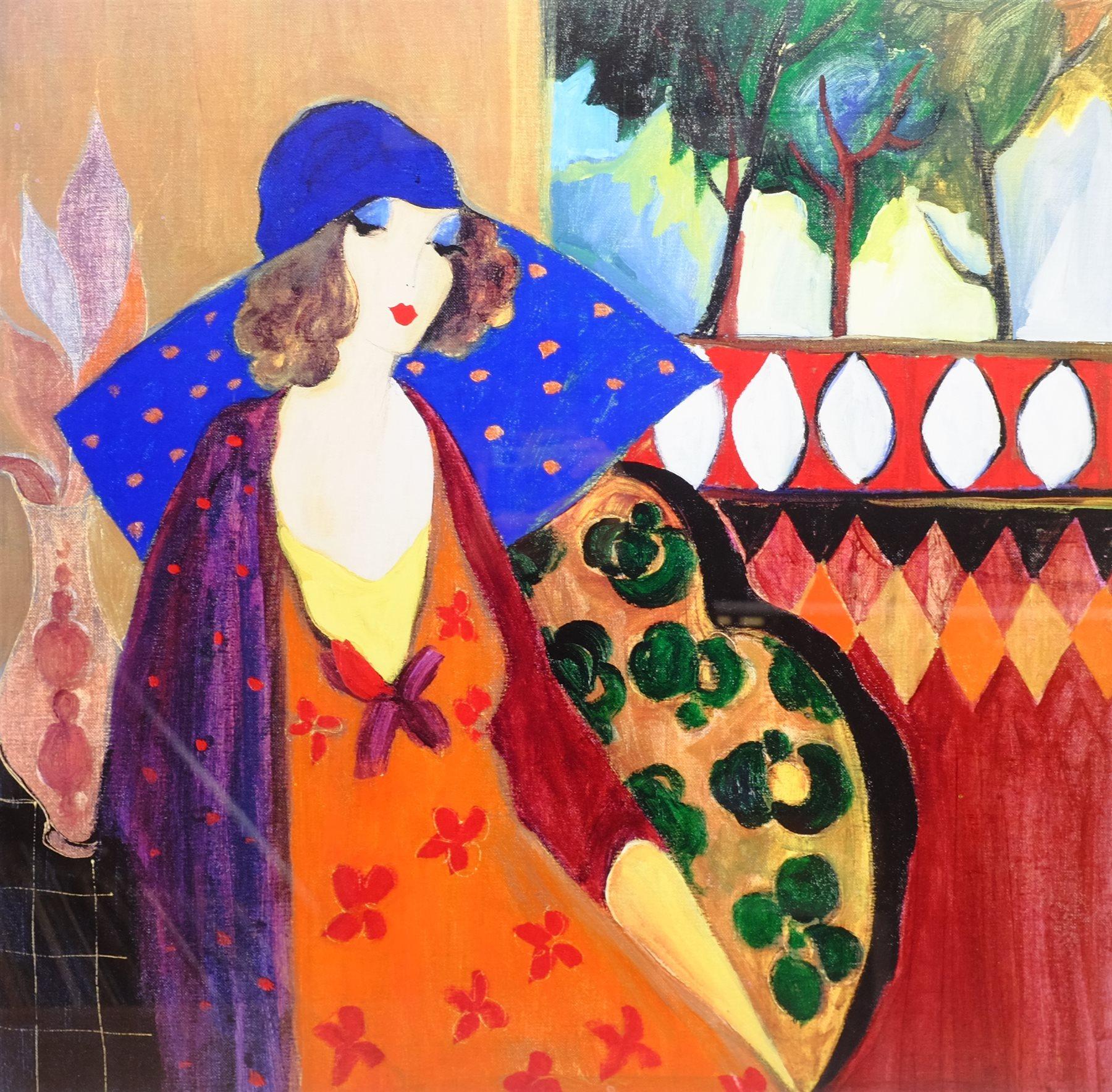 After Itzchak Tarkay (Israeli 1935-2012): 'Indigo Chapeau', colour print 63cm x 64cm - Image 2 of 4