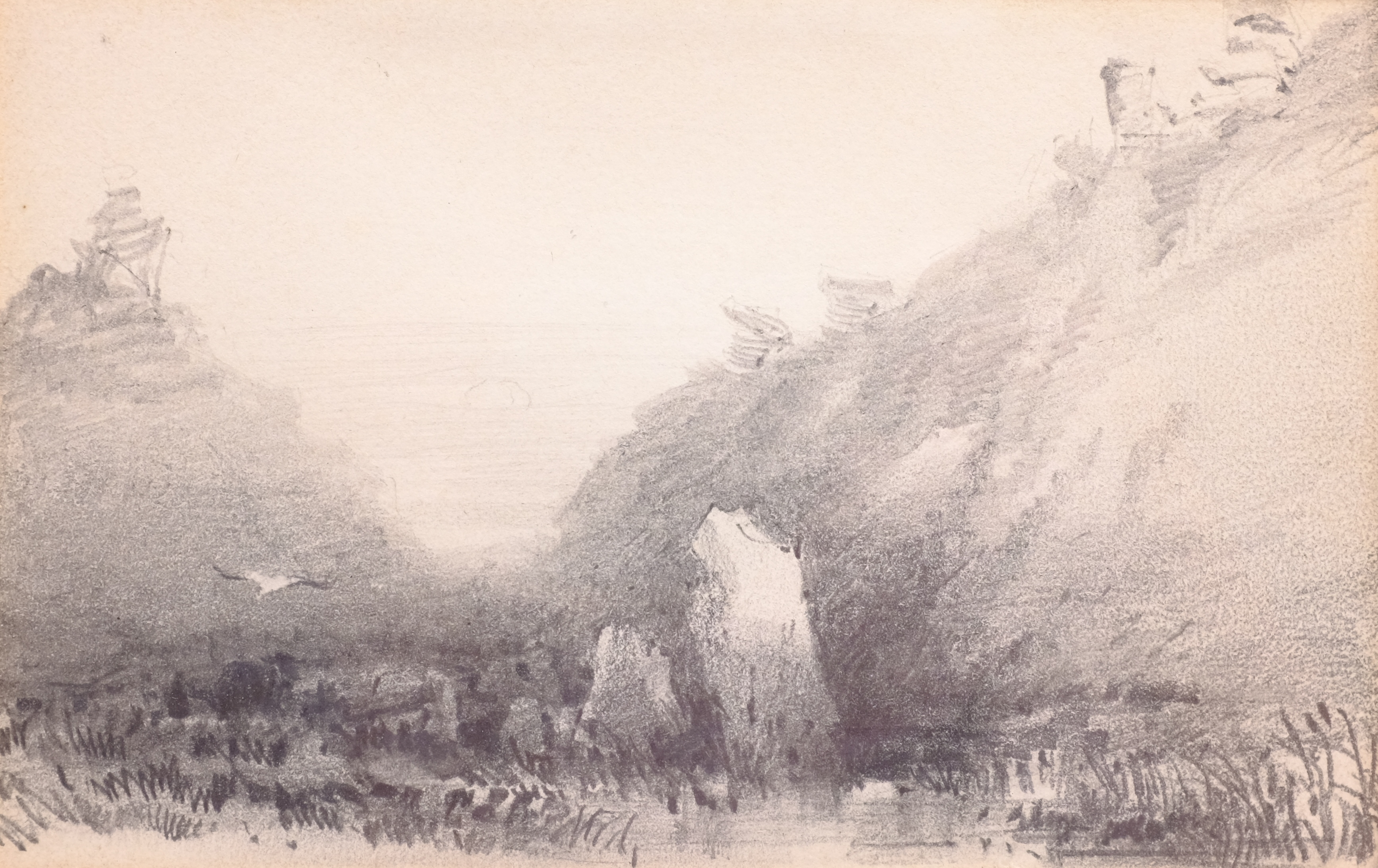 Henry Barlow Carter (British 1804-1868): 'Valley of the Rocks Lynton Twilight', pencil unsigned, tit