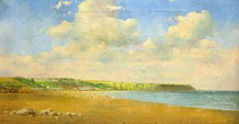 Don Micklethwaite (British 1936-): Filey Bay, oil on canvas signed 39cm x 74cm