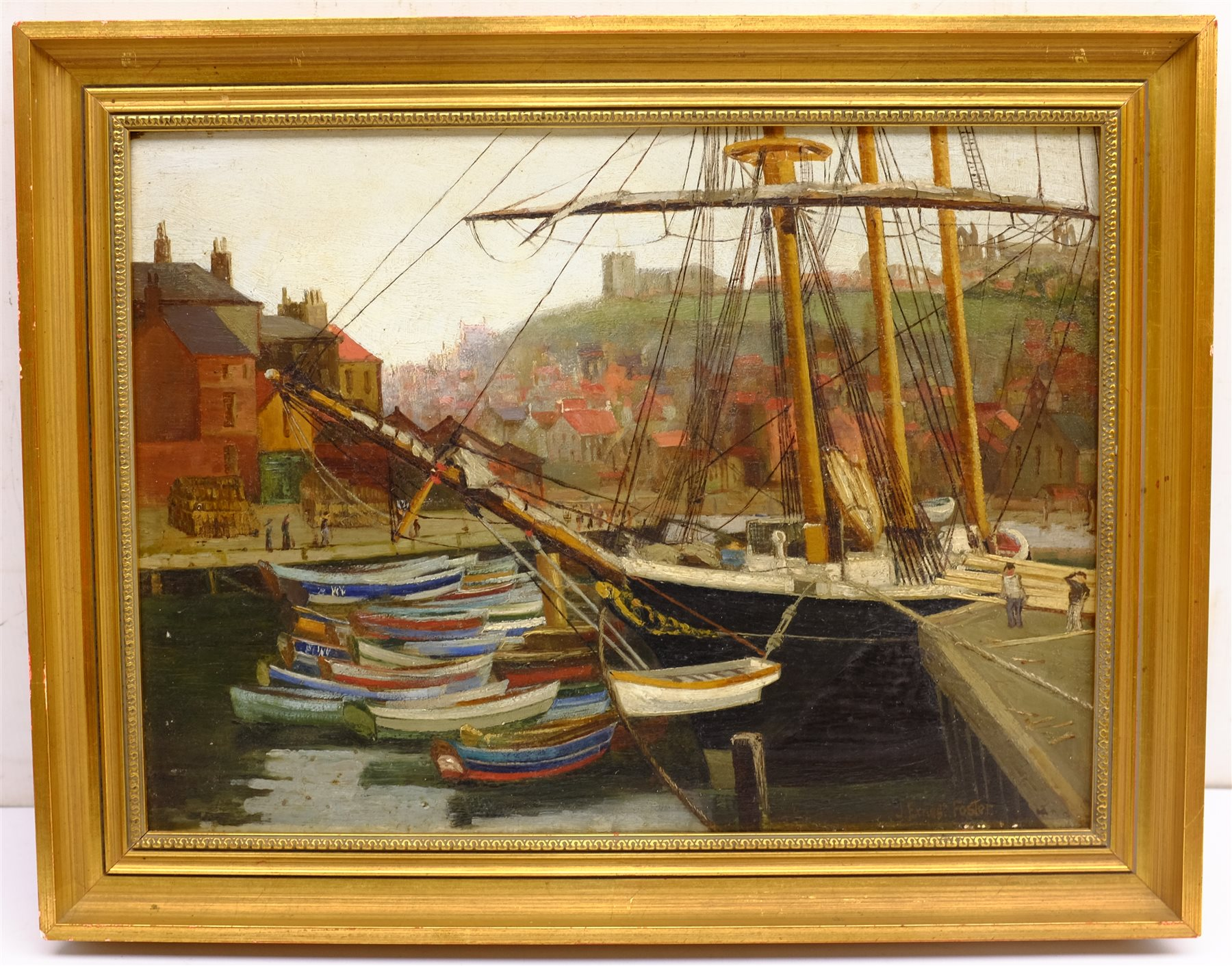 John Ernest Foster (British 1877-1968): Cobles Moored at Whitby, oil on panel signed 29cm x 40cm - Image 3 of 4