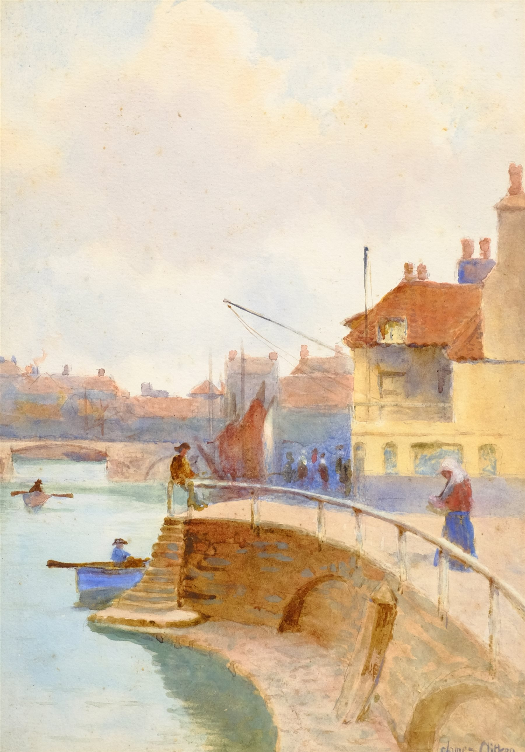 James Alfred Aitken (British 1846-1897): 'Whitby Harbour', watercolour signed, titled and dated 1876 - Image 2 of 4