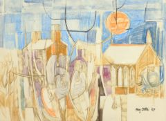 Roy Ostle (British 1930-1992); 'Towards Bethesda', mixed media signed and dated '67, titled signed a