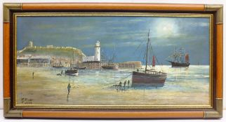 Robert Sheader (British 20th century): Fishing Boats on the Foreshore Scarborough by Moonlight, oil