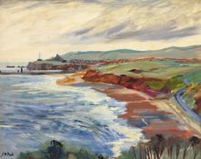 Joan M Pook (British 1927-2011): 'Whitby' from Lythe Bank, oil on board signed, title label verso 34