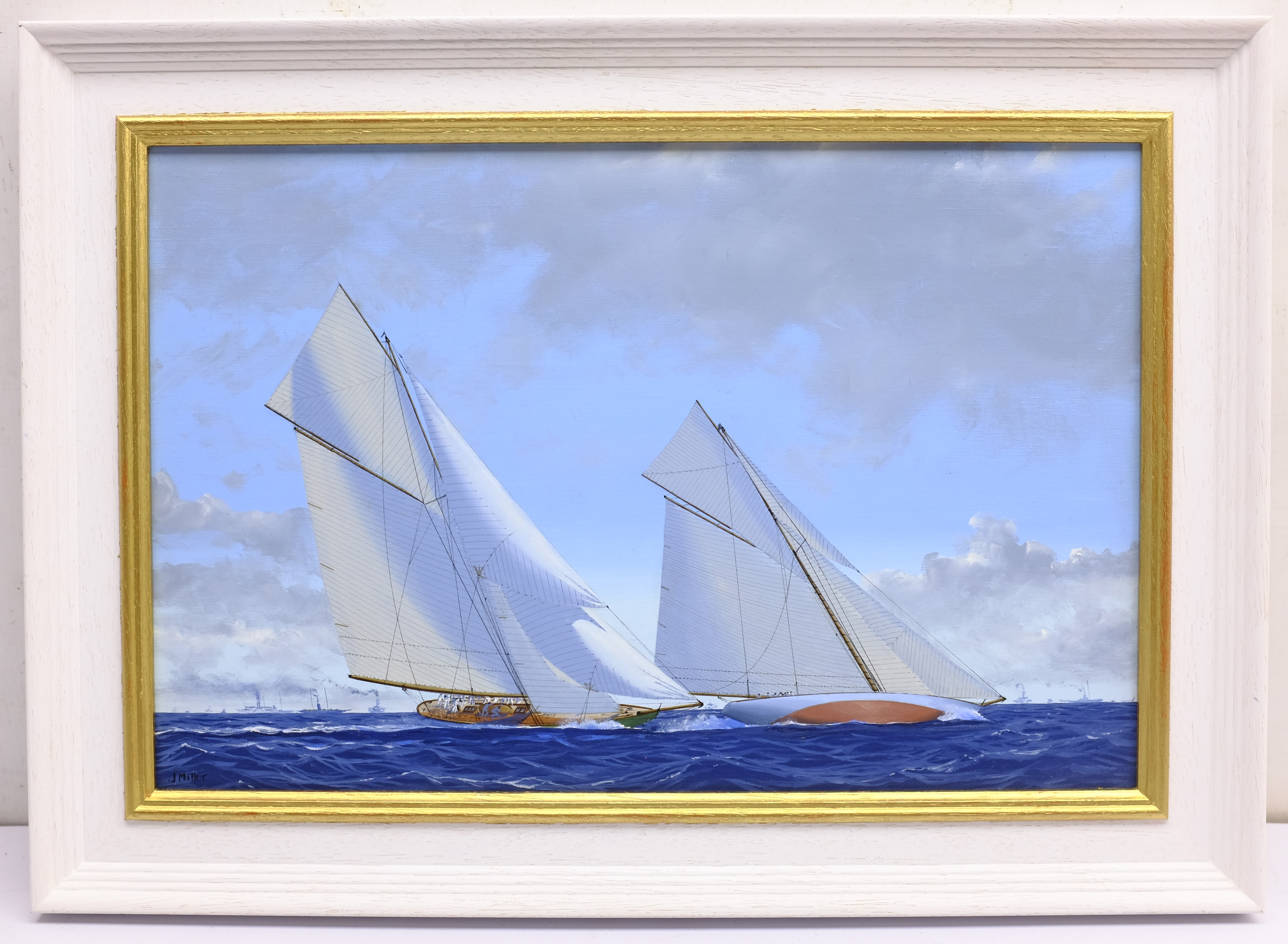 James Miller (British 1962-): 'Shamrock II' & 'Columbia' in the America's Cup Series 11th challenge - Image 4 of 4