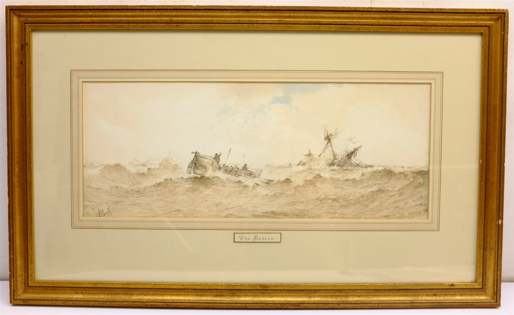 Albert Ernest Markes (British 1865-1901): 'The Rescue', watercolour signed, titled on the mount 20cm - Image 3 of 4