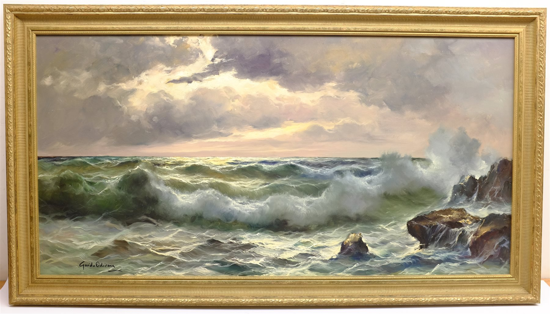 Guido Odierna (Italian 1913-1991): Waves Breaking on the Shore at Twilight, oil on canvas signed 59c - Image 3 of 4