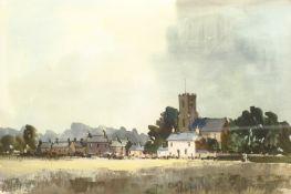 English School (Mid 20th century): Village scene, watercolour and gouache unsigned 36cm x 54cm